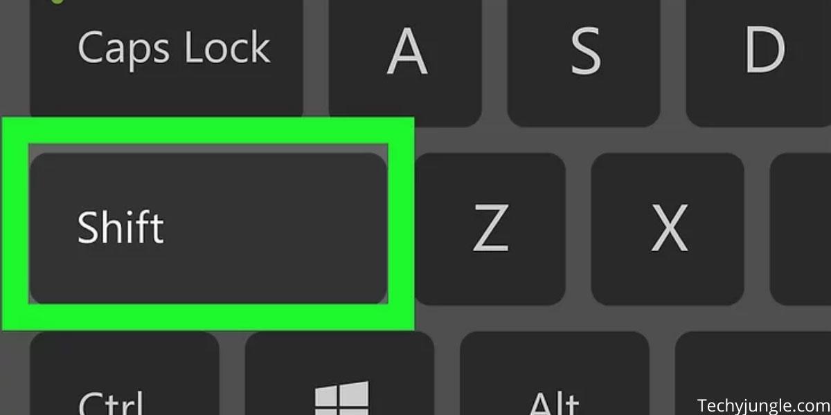 Shift key on keyboard