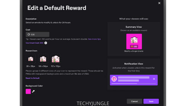 default reward twitch