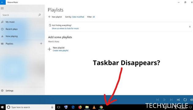 taskbar disappears