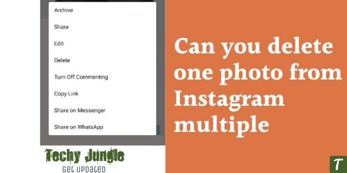 Can you delete one photo from multiple instagram photos